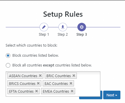 block countries listed below